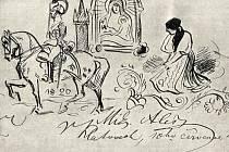 Malůvka je z pamětní knihy Měšťanské besedy z roku 1892 od Mikuláše Alše