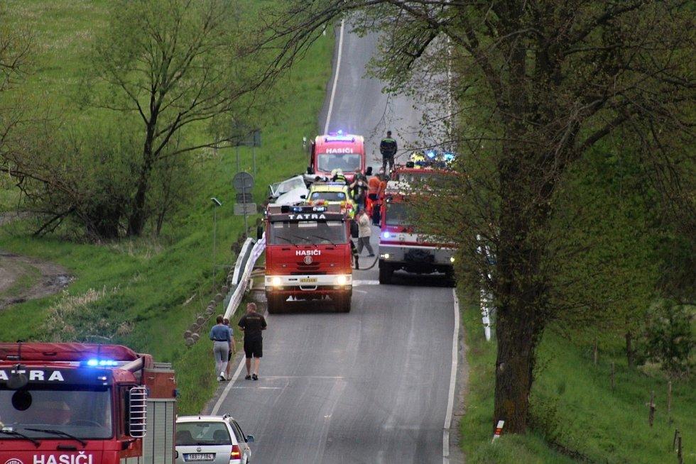 Nehoda u požáru v Plánici.