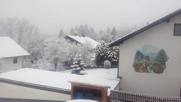 Sněhová nadílka v Bayerisch Eisenstein.