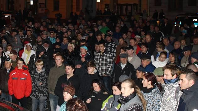Shromáždění proti nepřizpůsobivým na klatovském náměstí 26.10. 2012