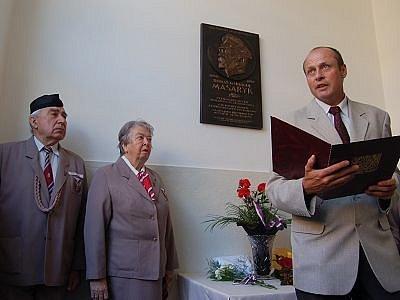 Starosta Klatov Rudlof Salvetr při slavnostním projevu.