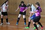 Dívčí Tříkrálový turnaj 2018 v sálové kopané v Plánici: PS Křeč Mochtín (fialové dresy) - Pralinky.