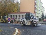Oprava Nerudovy ulice v Klatovech.