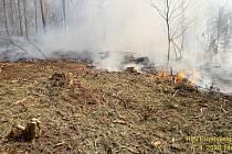 Požár v lese u Čermné.