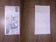 Falešná bankovka, kterou dostala Jitka Tomanová.