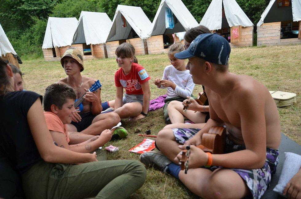 Letní tábor klatovské pionýrské skupiny Tuláci v minulém roce.