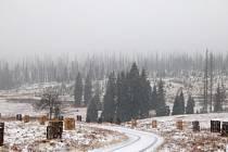 Už ve čtvrtek 20. listopadu na Šumavě sněžilo. Sníh padal například na Modravsku, v okolí myslivny Březník v nadmořské výšce přibližně 1100 metrů leželo dopoledne už několik centimetrů sněhu.