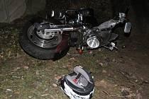 Nehoda motorkáře v Nýrsku.