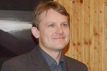 Martin Doktor na vernisáži v hotelu Šumava