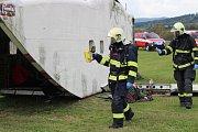 Pád letadla v Klatovech - cvičení IZS.