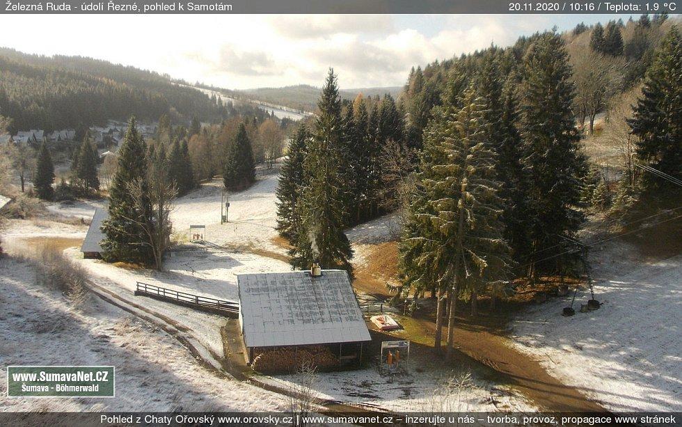 Páteční sníh v Železné Rudě.