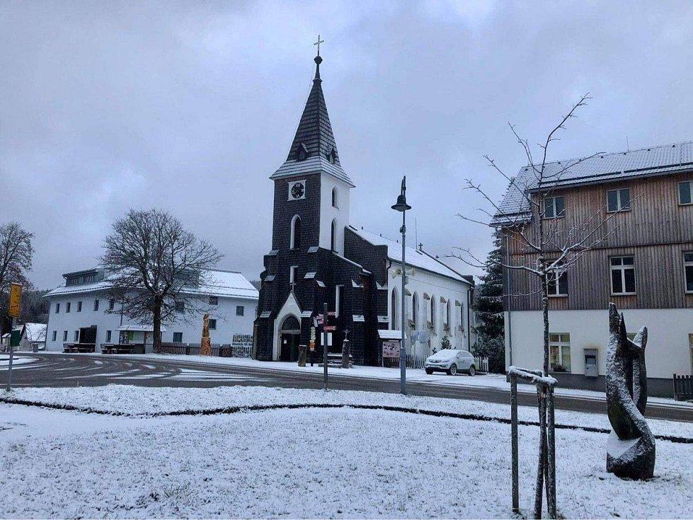 Páteční sníh na Kvildě.