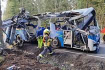 Nehoda autobusu na Špičáku.