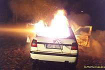 Požár osobního automobilu v Sušici.