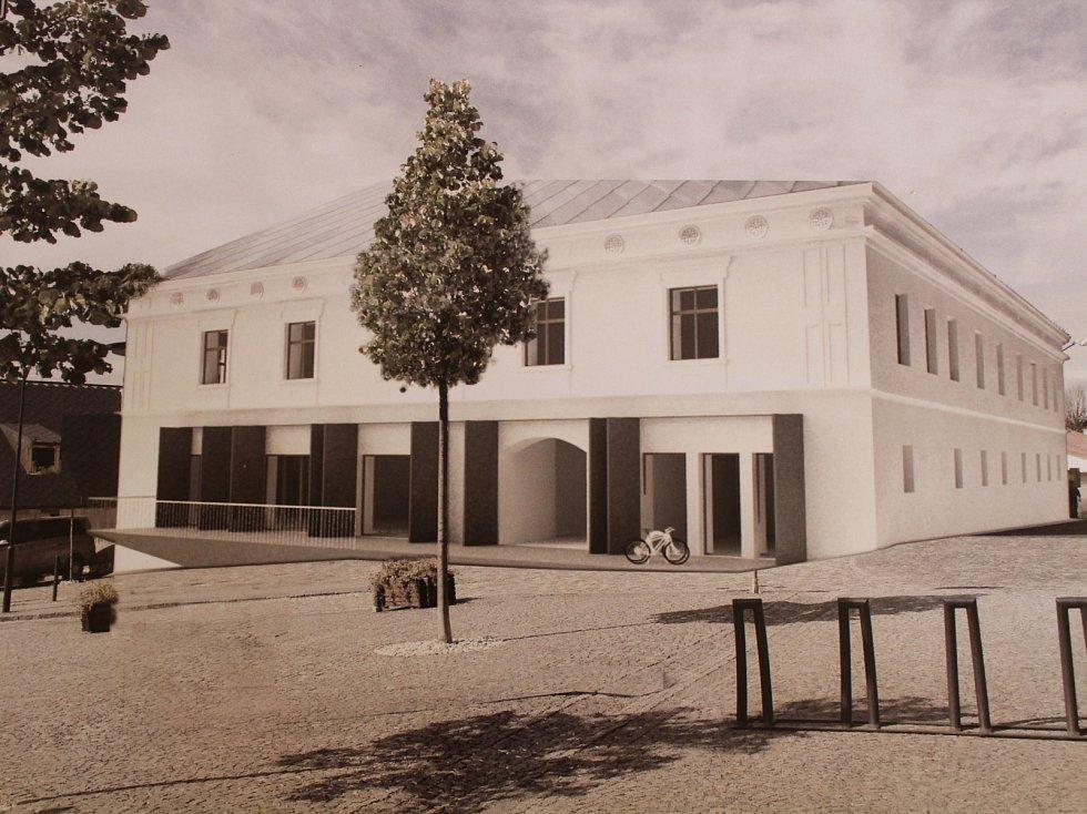 Vizualizace hotelu na náměstí v Kašperských Horách