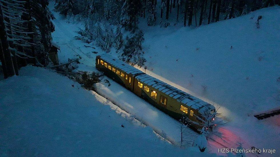 Vlak najel u Hojsovy Stráže do stromu.