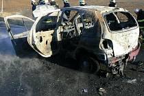 Požár auta u Čihaně.