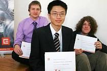 Tři nejlepší. Vlevo je úspěšný klatovský matematik Michael Bílý.