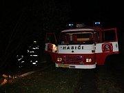 Požár bývalé sýpky ve Štěpánovicích u Klatov.
