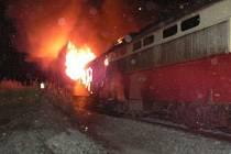 Požár vlaku u Pňovan