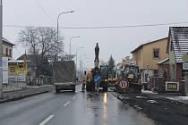 Peškova a Strakonická ulice v Horažďovicích.