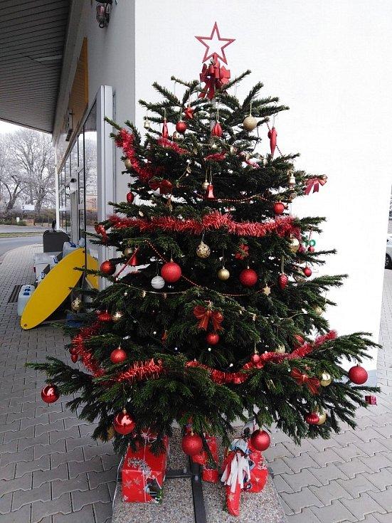 Vánoční strom na čerpací stanici Shell v Klatovech.