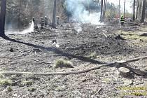 Požár lesa v Nezamyslicích.