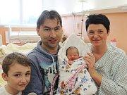 Emílie Beránková ze Sušice (2780 g, 47 cm) se narodila v klatovské porodnici 15. března ve 2 hodiny.  Rodiče Jitka a Ondřej přivítali svoji dceru na svět společně. Z narození sestřičky má radost bráška Filípek (6).