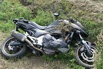 Dopravní nehoda německého motorkáře u Velkého Boru.