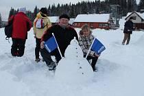 Soutěž ve stavění sněhuláků na Modravě