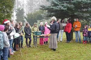 Zpívání u vánočního stromu u janovické školy