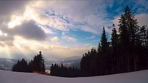 Sněhové podmínky v areálu Ski&Bike Špičák 21. února 2019