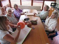 Pacienti na oddělení dlouhodobě nemocných Nemocnice Sušice při slovním fotbalu.