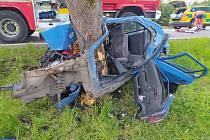 Havárie osobního auta do stromu u Petrovic u Sušice.