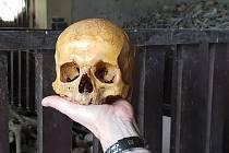 Lebka, která se vrátila do kostnice na Mouřenci u Annína.
