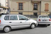 Nehoda v Plzeňské ulici v Klatovech.