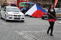 Start Rallye Šumava Klatovy.