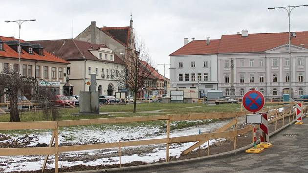 Náměstí v Horažďovicích 30. ledna.