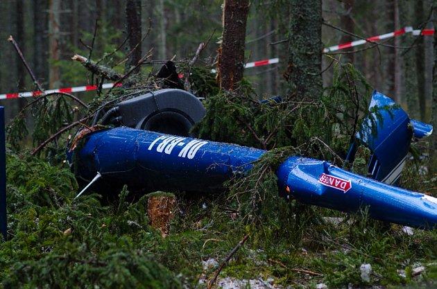 Nehoda vrtulníku u Modravy.