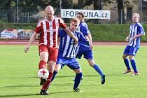 O jediný gól Lubů se postaral z pokutového kopu Jan Voráč (na archivním snímku hráč v červeném dresu s míčem).