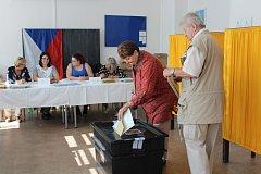 Volební místnost č. 1 v Klatovech.