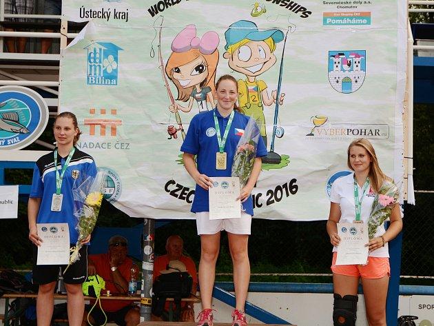 Kateřina Patková na mistrovství světa v rybolovné technice.