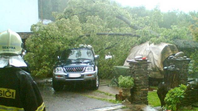 V Železné Rudě padl strom na auto