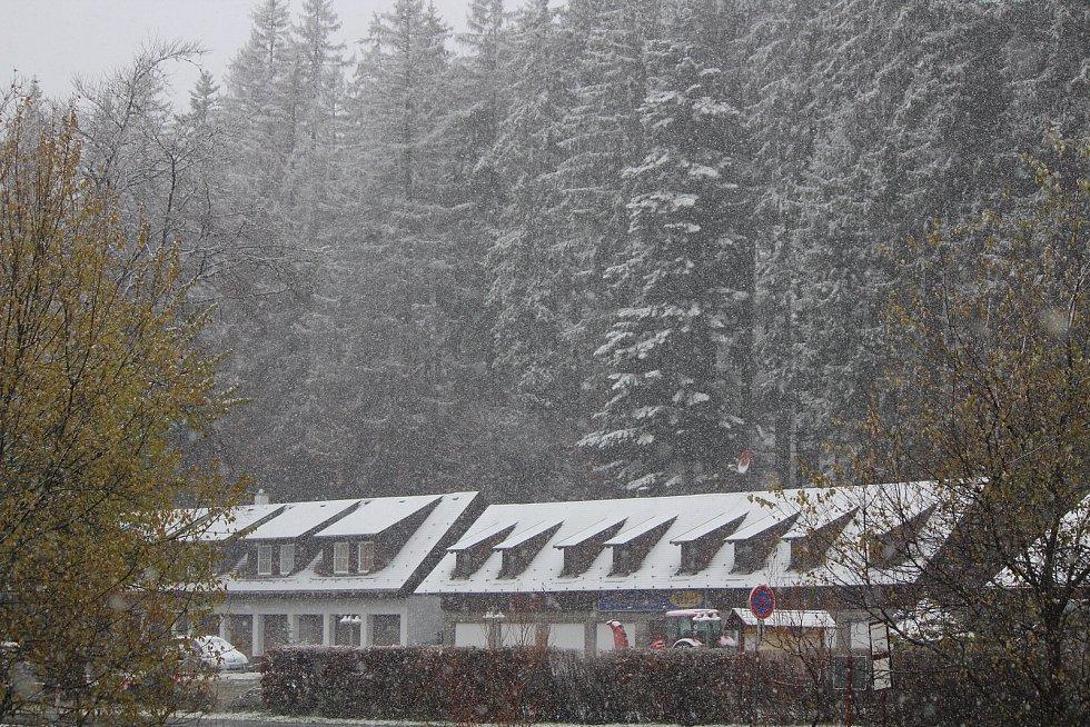 Sněžení na Železnorudsku.
