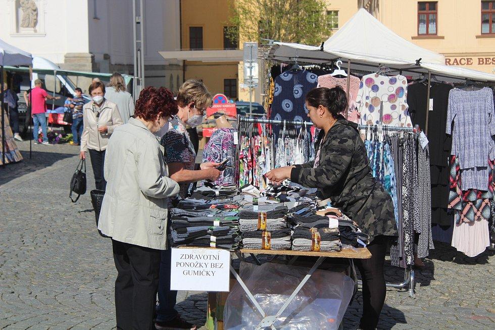 Obchody a centrum města po pondělním rozvolnění v Klatovech.