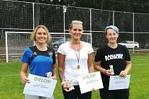 Nejlepší fotbalistky turnaje – zleva Marie Schneider, Jana Červeňáková a Michaela Čechová.