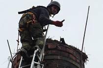 Hasiči a ochránci zvířat opravovali čapí hnízdo