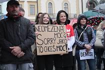 Demonstrace proti Andreji Babišovi a Marii Benešové v Klatovech.