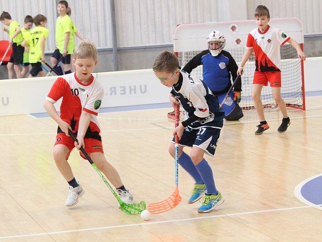 Florbalová liga elévů - zápas SC Klatovy - FBC Plzeň (modří).