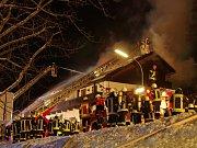 Požár ubytovny pro uprchlíky v Bavorské Železné Rudě.